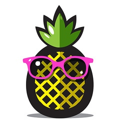 Pineapple Yellow Ananas Cartoon with Green Leaves vector image