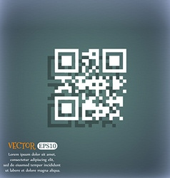 Qr code icon symbol on the blue-green abstract vector image