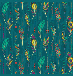 Seamless pattern with hand drawn ornate vector