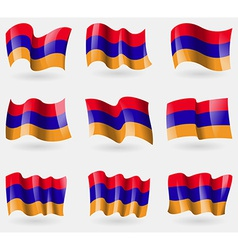 Set of armenia flags in the air vector