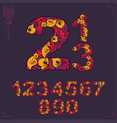 Set of beautiful numbers decorated with herbal vector