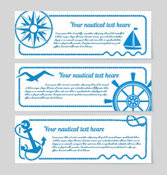 Set of nautical themed banners vector