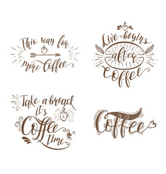 set of quotes for coffee vector image vector image