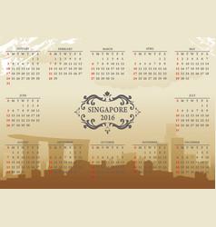 singapore calendar vector image vector image