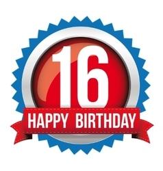 Sixteen years happy birthday badge ribbon vector