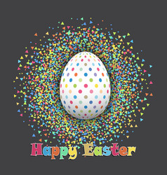 spotted easter egg on confetti background vector image