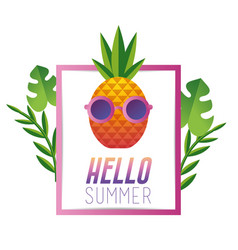 Summer vacation with tropical pineapple fruit vector