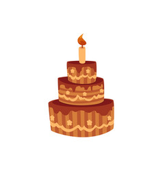Tier birthday cake with chocolate icing and candle vector
