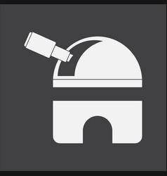 White icon on black background telescope station vector