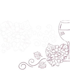 Wine with grape vector image vector image