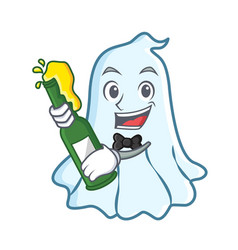 with beer cute ghost character cartoon vector image vector image