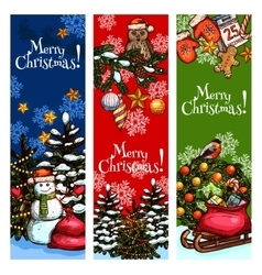 Xmas tree snowman gift sketched banner design vector image