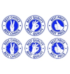 Set of blue badges with hand gesture symbols vector