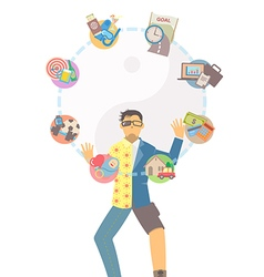 Life balance juggling on white background vector