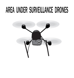 Image drone caption area under surveillance vector
