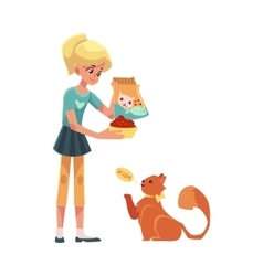 Teenage girl giving food to her fluffy red cat vector