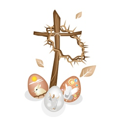 Wooden cross and a crown of thorns with easter egg vector
