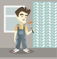 builder on a light background vector image