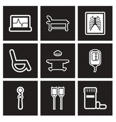 assembly stylish black and white icons medicine vector image