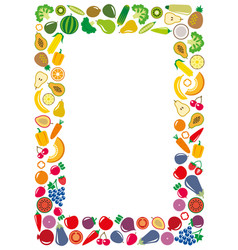 Vegetables and fruits icons rectangle frame vector