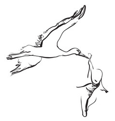 Hand drawn cartoon stork is carrying the baby vector