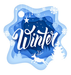 Winter paper art vector