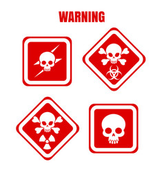 Red warning icons with skulls vector