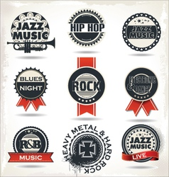 Vintage music labels vector