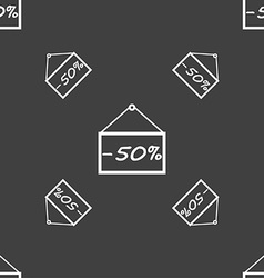 50 discount icon sign Seamless pattern on a gray vector image