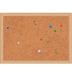 blank cork notice board with thumbtacks vector image