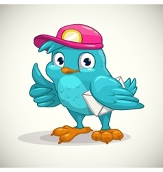 Funny blue cartoon bird with letter vector