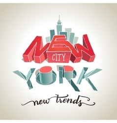 New york city 3d typography vector