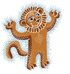 Drawing of happy orange lion holding its paws up vector