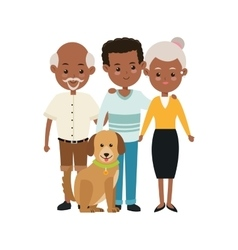 Grandparents and son icon family design vector