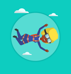 African parachutist jumping with parachute vector