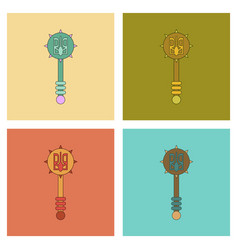 Assembly flat icons ukrainian mace vector