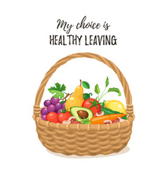 basket with fresh food vector image vector image