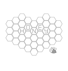 Bee insect animal Honeycomb set in shape of heart vector image vector image
