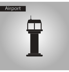 Black and white style icon airport control tower vector