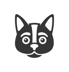 Black cat face icon on white background vector