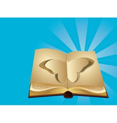 Butterfly cut out of book vector image