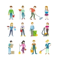 Cleaning staff man and woman character vector