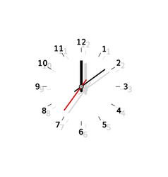 Clock flat analog watch with shadow vector