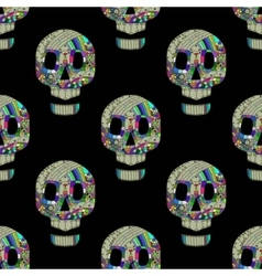 Colorful skulls on black background - seamless vector image vector image