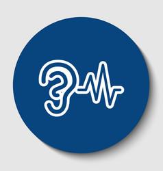 Ear hearing sound sign white contour icon vector