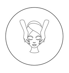 Facial massage icon in outline style isolated on vector