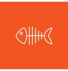 Fish skeleton line icon vector image