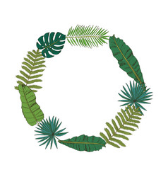 floral wreath collection with tropical leafs in vector image vector image