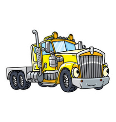 Funny heavy truck with eyes vector