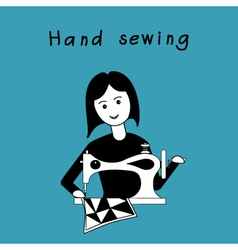 Girl sewing patchwork guil on retro sewing machine vector